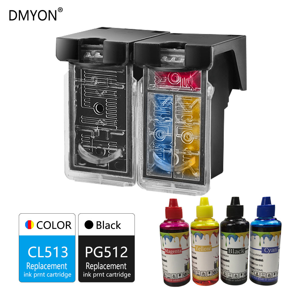 DMYON Refillable Ink Cartridge Compatible for Canon PG512 CL513 Pixma iP2700 iP2702 MP240 MP250 MP252 MP260