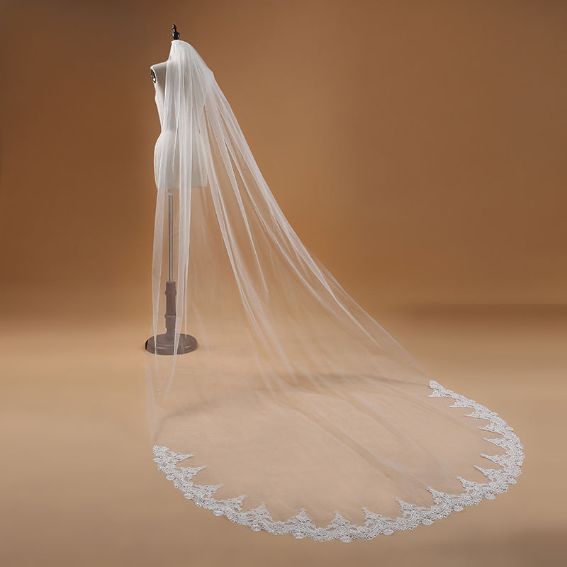 Elegant Bridal Veil One Layer Lace Edge White Ivory Cathedral Wedding Veil 3M Long Bridal Veil Wedding Accessories
