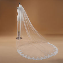Elegant Bridal Veil One Layer Lace Edge White Ivory Cathedral Wedding 3M Long Accessories