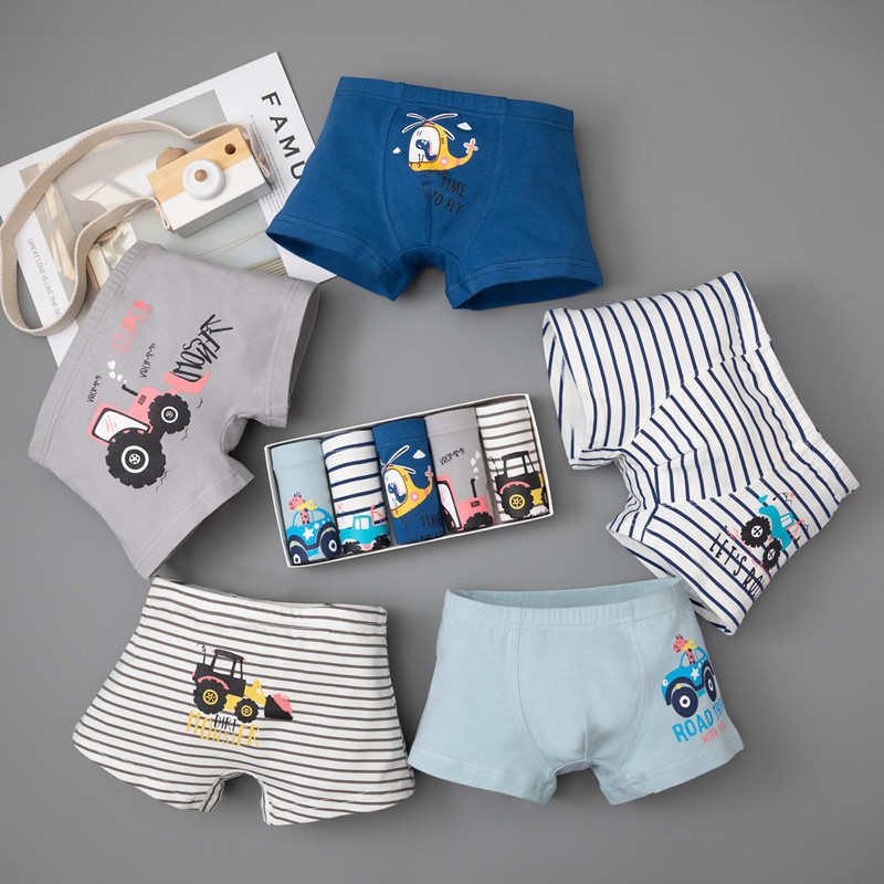 5Pcs Cotton Teenage Boys Underwear Kids Panties For Boy Briefs Car Cartoon Baby Calcinha Infantil Children Toddler Underpants