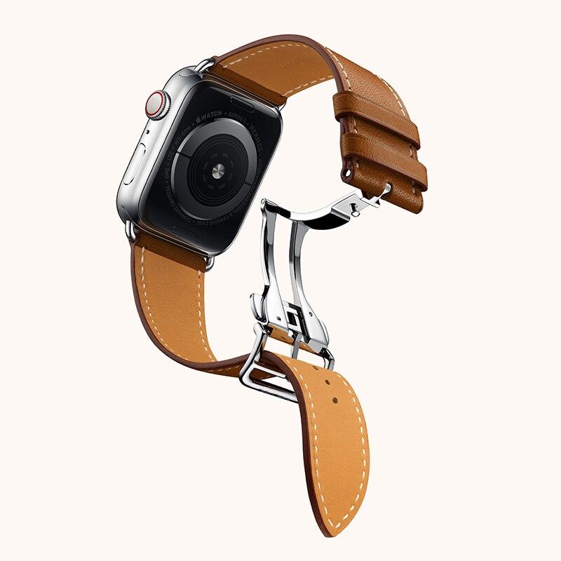 Bracelet de montre à boucle de déploiement en cuir véritable pour la série iWatch 3 2 1 bracelet de remplacement pour Apple Watch 5 4