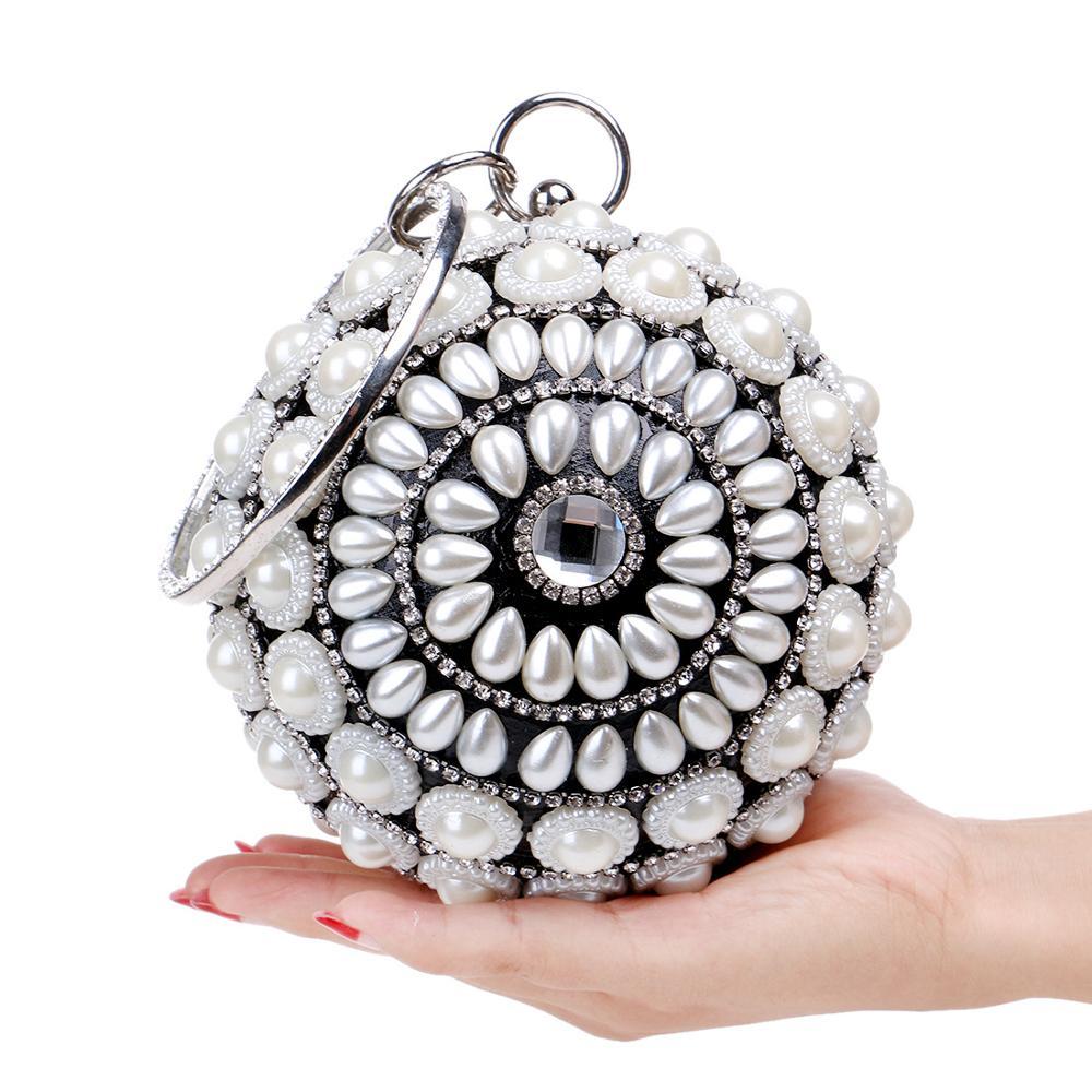 Pearl Crystal Eye Ball Handbag Women Party Metal Crystal Clutches Evening Bags Wedding Bag Bridal Handbag Wristlets Clutch Purse