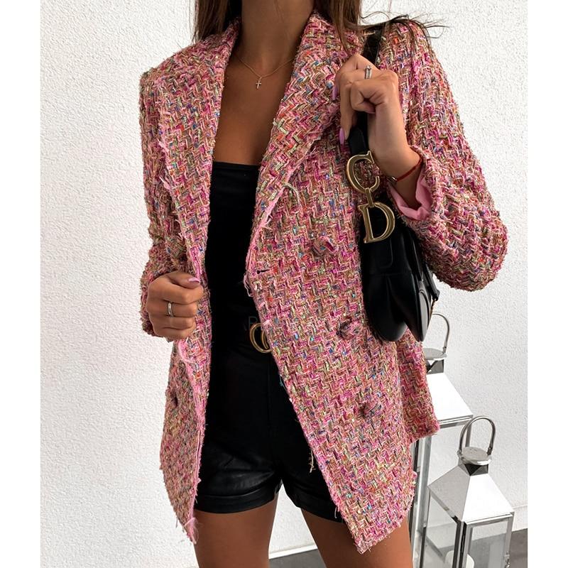 Plaid Tweed Double Breasted Blazer Women Long Sleeve Turn Down Collar Slim Jacket Coat Elegant Office Women Blazers And Jackets