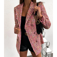 Plaid tweed double breasted blazer women long sleeve turn down collar slim jacket coat Elegant office women blazers and jackets
