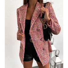 Plaid tweed double breasted blazer women long sleeve turn down collar slim jacke