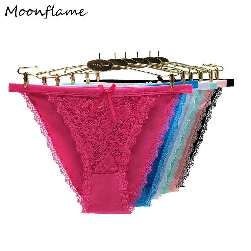 Moonflame 5 шт./лот кружевные трусики женское белье трусы-брифы, высококачественное нижнее хлопок с низкой талией, комплект сексуального женског...