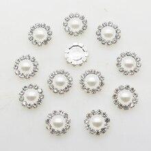 10pcs New Fashion Round Silver Buttons Diy White Pearl Accessories Festival Decor Diameter Supplies Wholesale