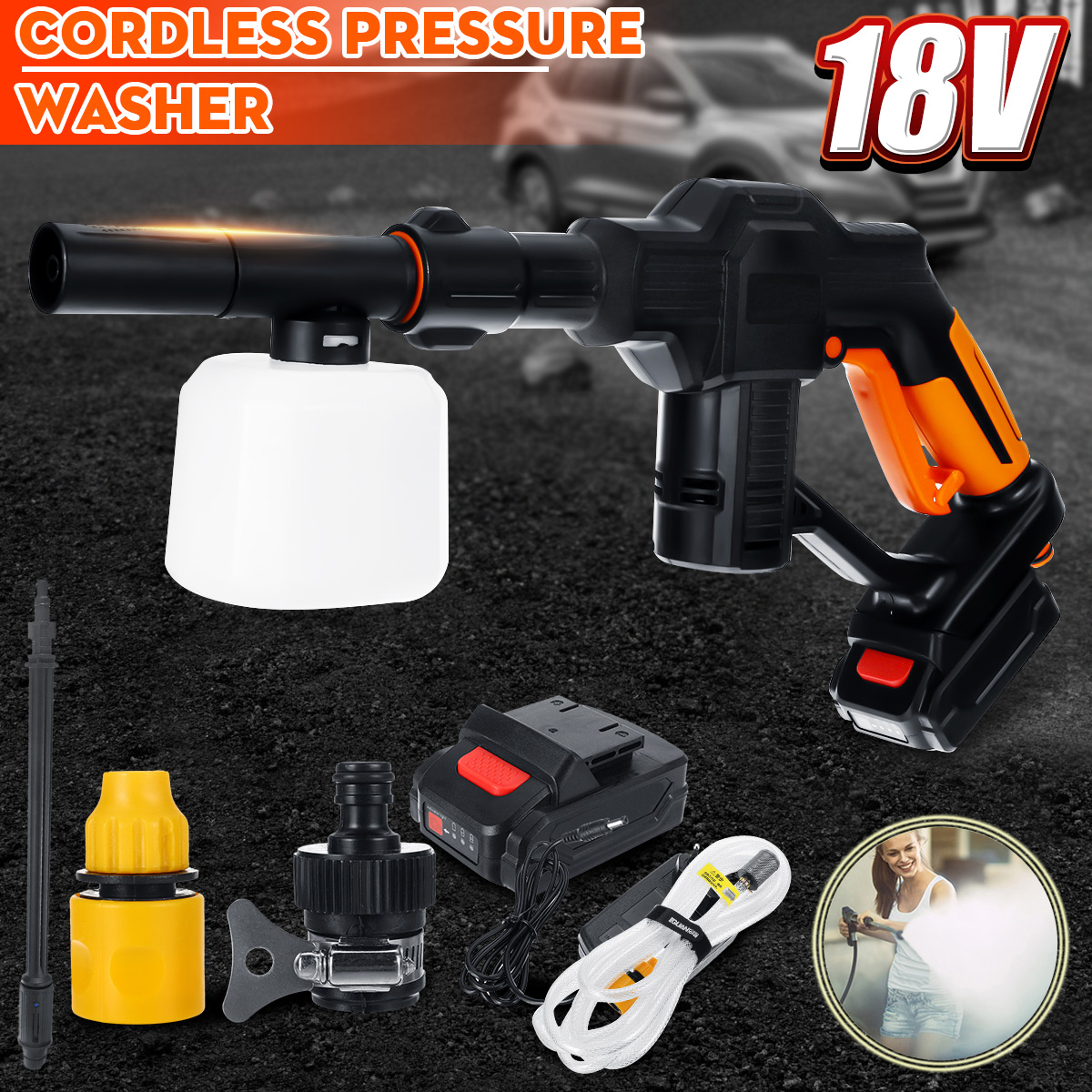 Car Washer 12V Portable Cordless High Pressure Cleaner Rechargable Self-priming Washing Machine Auto Garden Electric Cleaning