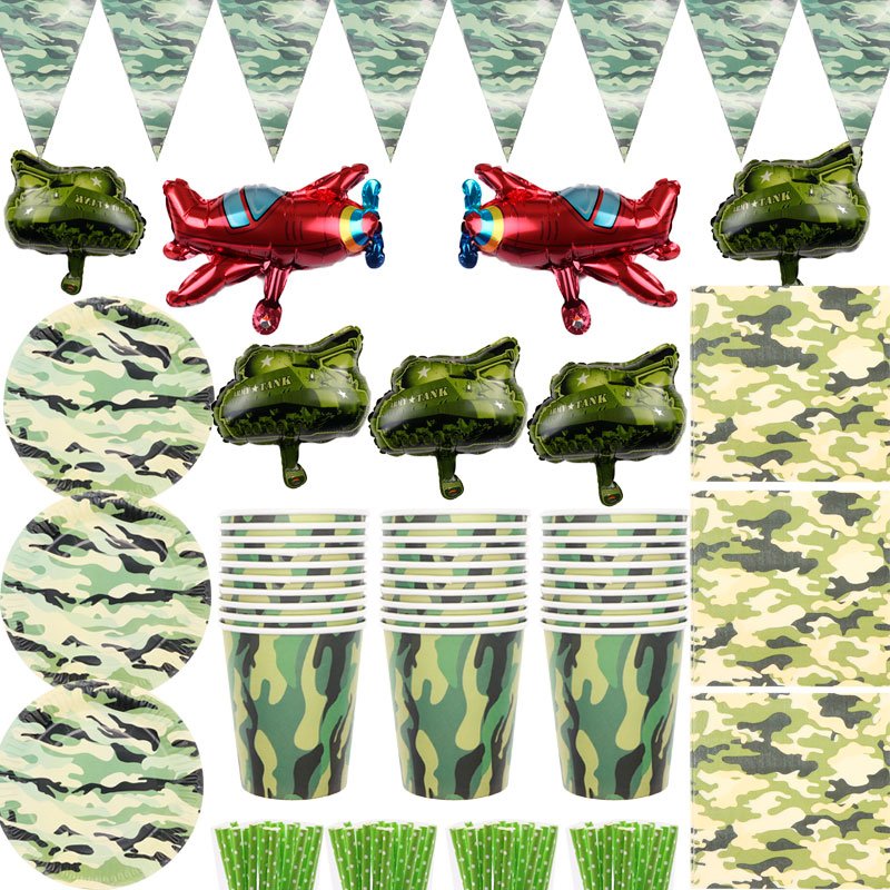 Army Party Supplies Camouflage Set Camouflage Paper Plate Camouflage Paper Cup Camo Birthday Party Set