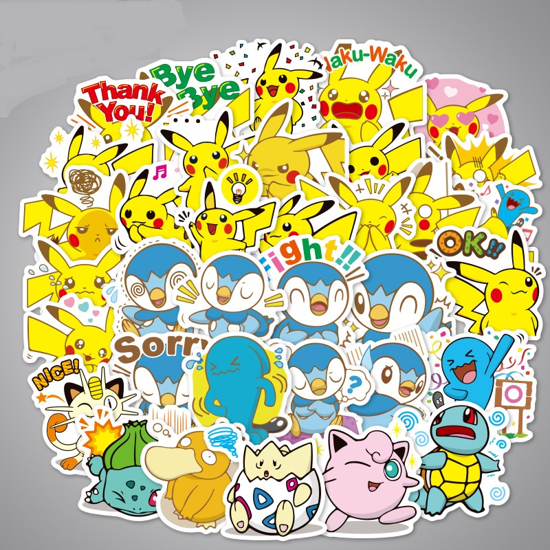 45-80 Pcs Various Pokemones Stickers For Luggage Skateboard Phone Laptop Moto Bicycle Wall Pikachu Stickers/DIY Scrapbooking