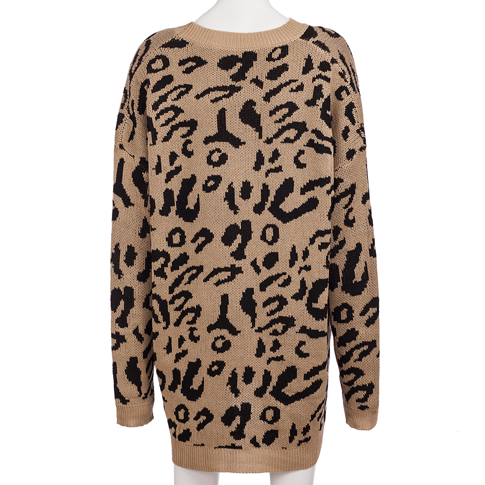 Dilusoo Leopard Print Winter Knitted Sweater Women O-neck Long Sleeve Loose Sweaters Female 19 Casual Autumn Overalls Sweaters 15