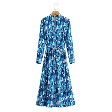 Shirt Dress Turndown-Collar Long-Sleeve Vestido Spring Women Elegant Female Loose Sashes