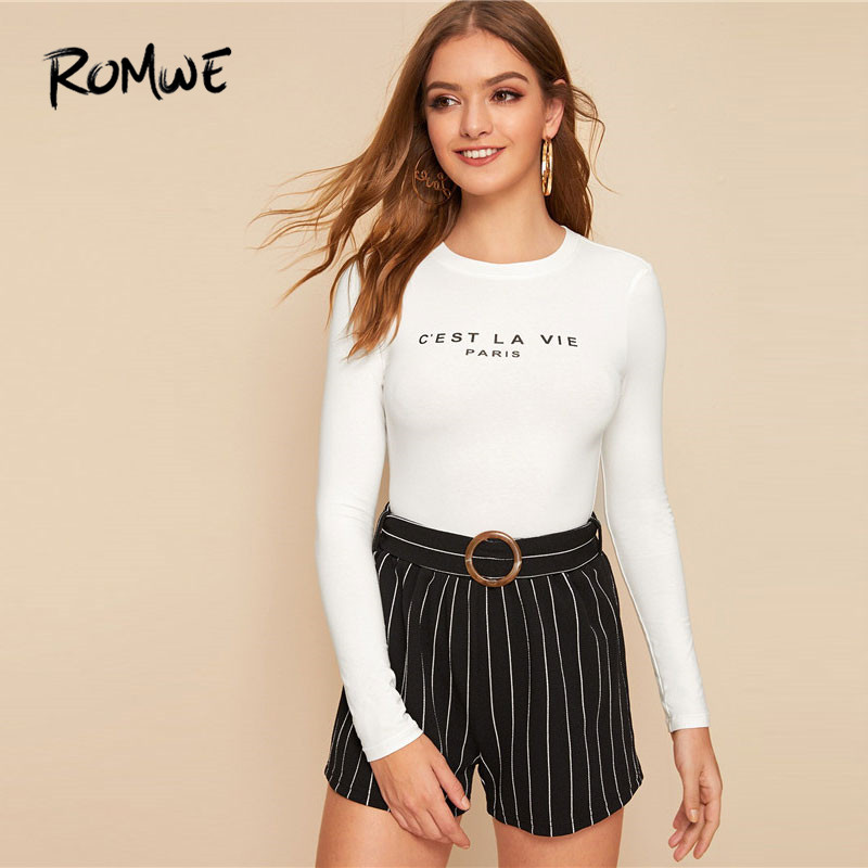 ROMWE Slogan Print Fitted Long Sleeve T Shirt Fall Clothes For Women 2019 Casual Round Neck Autumn Slim Fit White Tshirt Tops