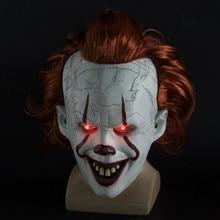 Stephen Kings It Chapter Two LED Pennywise Máscara de payaso, película, casco para Cosplay, máscaras de utilería