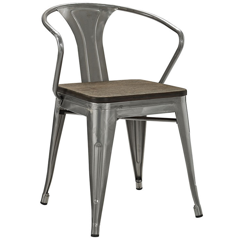 Nordic solid wood dining table and chair modern minimalist back industrial wind loft iron iron chair cafe metal chair