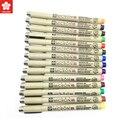 SAKURA микрон лайнер ручка набор 8/14 Цвет s 0,25 мм 0,45 мм Цвет тонко пишущие нанесения линий маркер ручка, ручка для студентов, товары для рукоделия