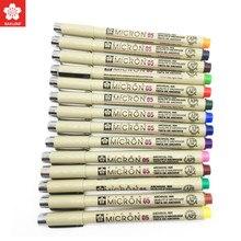 Conjunto da pena do forro do mícron de sakura de 8/14 cores 0.25mm 0.45mm cor fineliner linhas de desenho marcador caneta estudante arte suprimentos