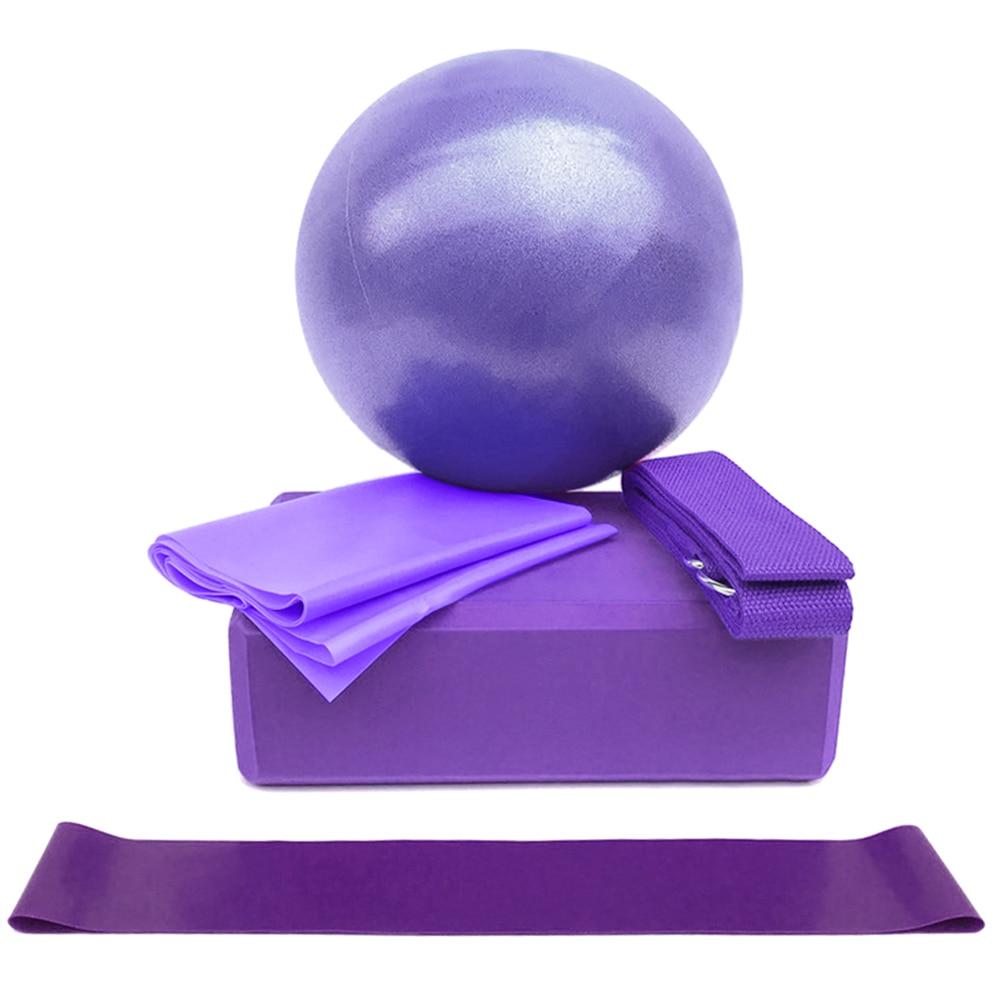 5pcs Yoga Equipment Set With Yoga Ball Yoga Blocks Stretching Strap Resistance Loop Band Exercise Band