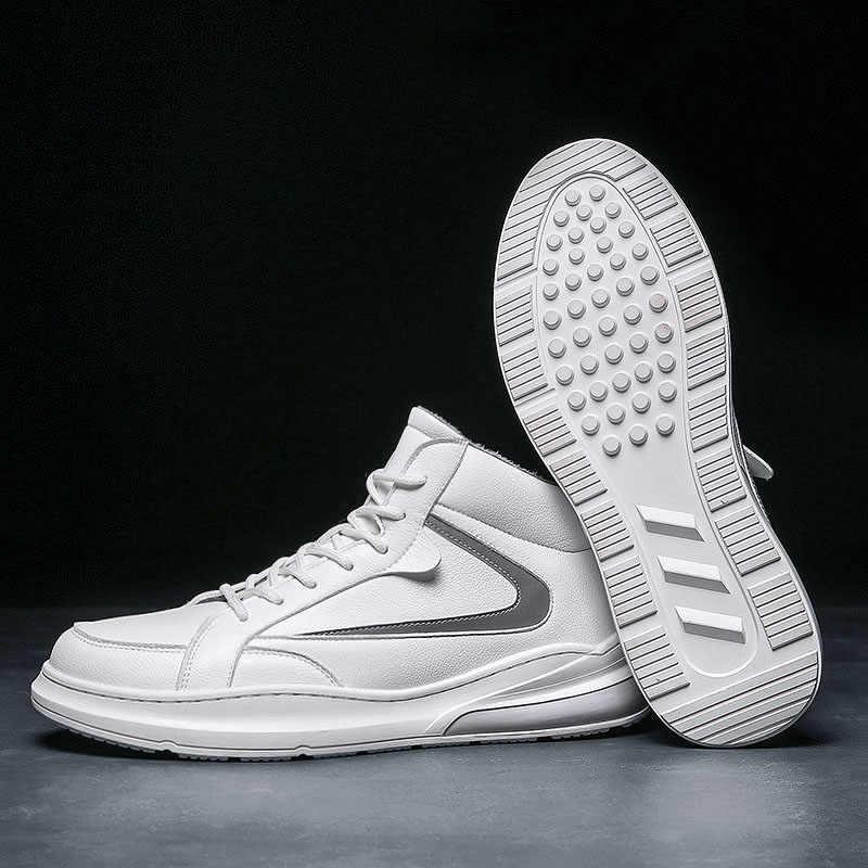 Botas de neve dos homens outono inverno quente sapatos de moda confortável alto superior tênis ao ar livre homens botas com pele plana sapatos de inverno