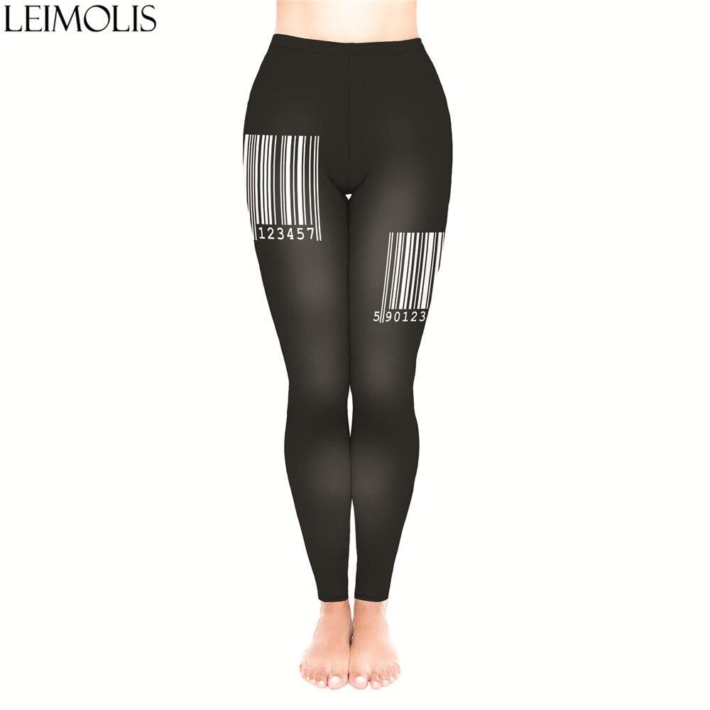 LEIMOLIS 3D Print Bar Code Black Fitness Push Up Workout Leggings Women Harajuku High Waist Punk Rock Sexy Leggins
