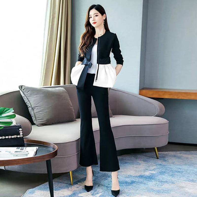 H0f4d9cde93c04cf3bbf432901d41a450W - Spring Korean Elegant Black And White Patchwork 2 Piece Set Women Fashion Womens Outfits Plus Size Clothing