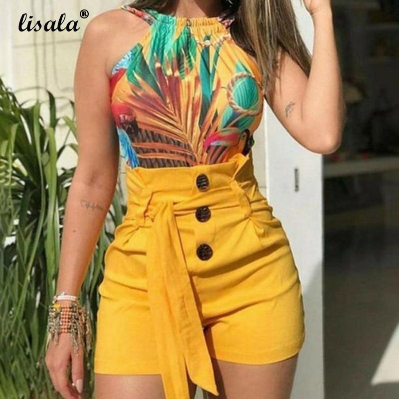 LISALA Women Button High Waist Belted Shorts Yellow Black Casual Women's Short Plus Size Fitness 5XL