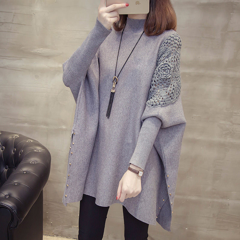 Korean Fashion Hook Flower Sweater Coat Female Autumn And Winter Knitting Pullover Loose Bat-sleeve Jacket Casual Knitwear F2475