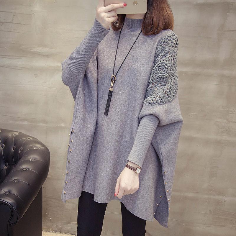 Korean Fashion Hook Flower Sweater Coat Female Autumn And Winter Knitting Pullover Loose Bat-sleeve Jacket Casual Knitwear F2475