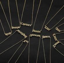 Collier avec les 12 constellations du zodiaque, en acier inoxydable, vierge, lion, taureau, gémeaux, Cancer, en vieux anglais