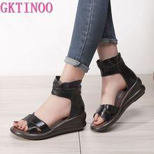 GKTINOO Women Sandals 2020 Summer Genuine Leather Gladiator