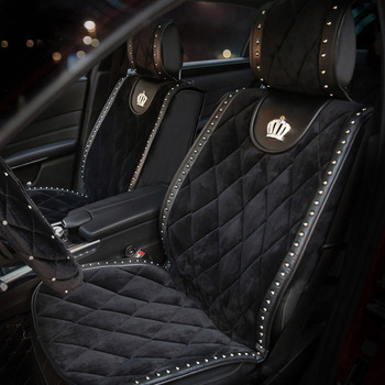 Winter Plush Fur Universal Car Seat Covers Styling Crown Rivets Auto Seat Cushion Auto Interior Accessories Front Seats Covers