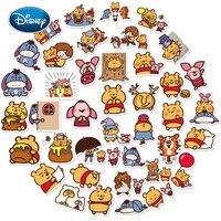 Disney 40 Uds lindo Pooh etiqueta pegatina de dibujos animados de taza de agua teléfono casco portátil impermeable set de pegatinas decorativas