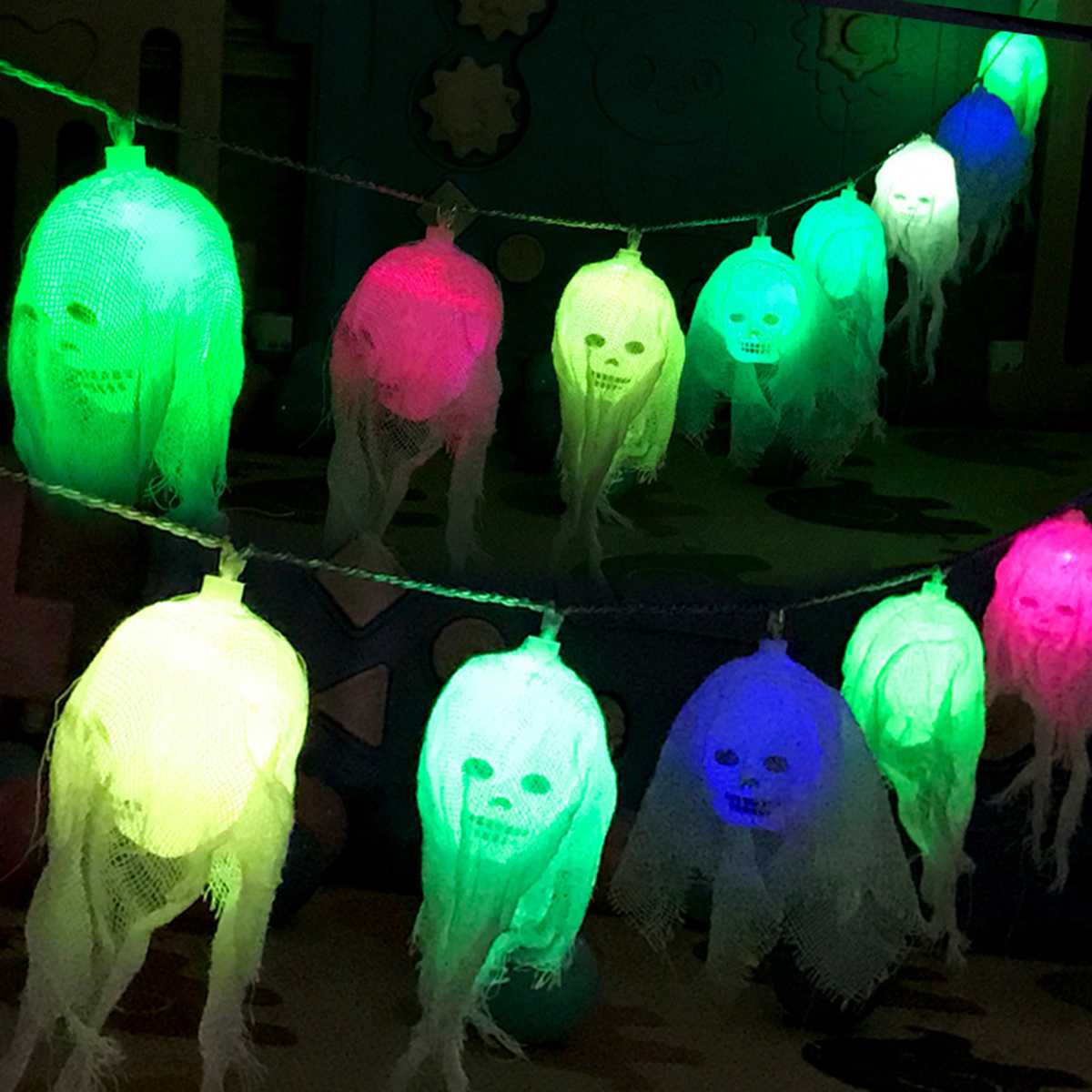 2.5M Battery Powered 10 LED Skull String Light With Lace IP44 Colorful Decoration Lamp For Halloween Ghost Party Decor