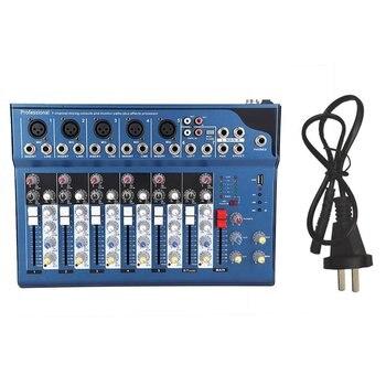 Mini Portable Audio Mixer w/ USB DJ Sound Mixing Console MP3 Jack 7 Channel Karaoke 48V Amplifier For Karaoke KTV Match Party