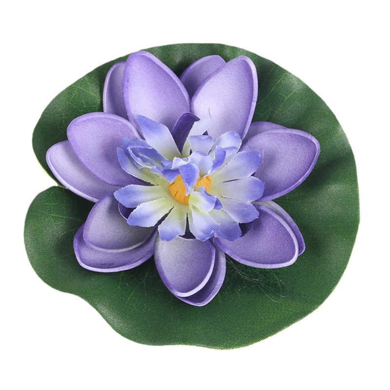 5PCS Künstliche Lotus Wasser Lilie Schwimm Blume Teich Tank Anlage blatt Ornament 10cm Hause Hochzeit Garten Teich Pool dekoration