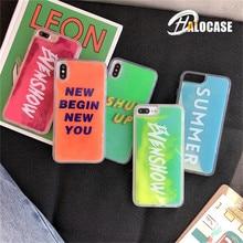 Luxury Neon Liquid Sand Case QuicksandBack Luminous for iPhone XS Max XR 7 8 6 Phone Cover Plus Capa