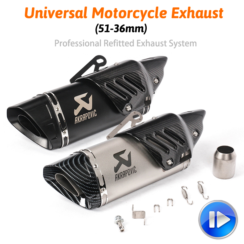 Motorcycle  Exhaust Escape For R1 R6 R3 Z900 KTM390 K8 Modified Uiversal Motorbike Laser Scooter Carbon Muffler Sticker Exhaust & Exhaust Systems Automobiles & Motorcycles - title=