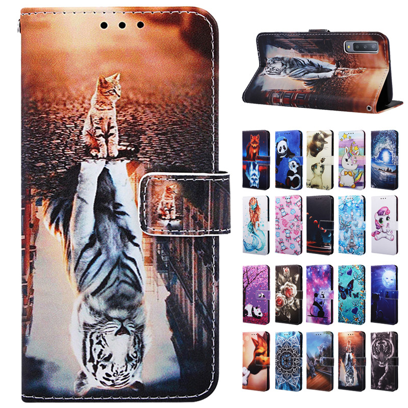sFor Samsung A7 2018 Case for Samsung Galaxy A7 2018 Cover Luxury Animal PU Leather Flip Cases for Samsung Galaxy A7 2019 Coque image