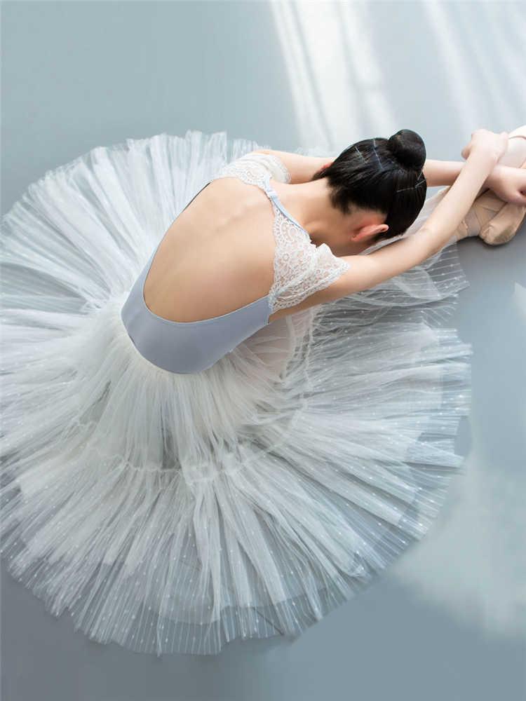 Girl Ballet Dance Leotard Gymnastic Lace Dancewear Costume Cutout Back Bodysuit