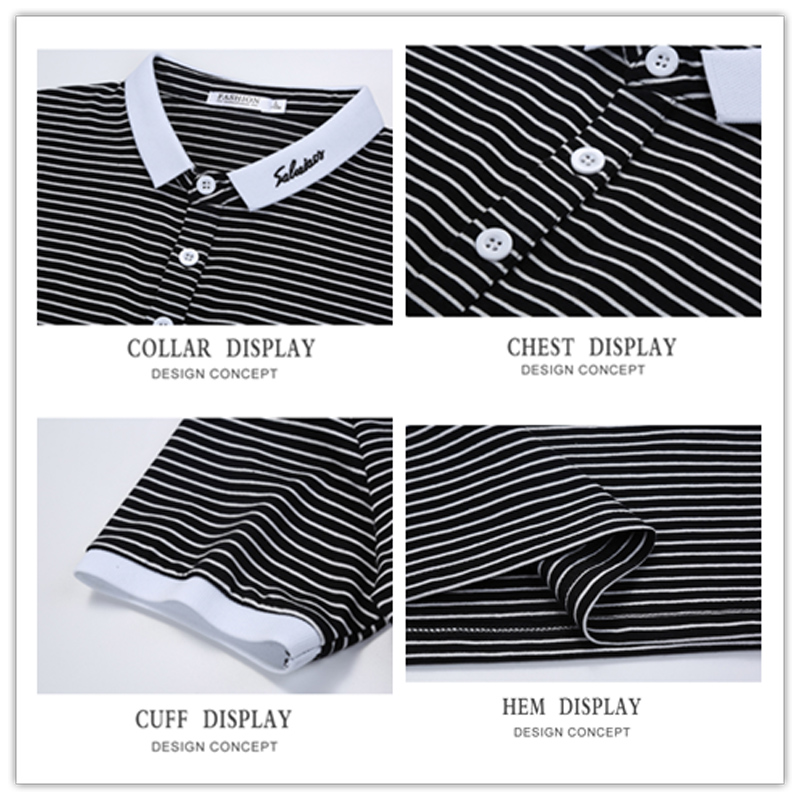 BROWON Summer 2020 T-Shirt Mens New Short Sleeve Striped Tshirt Casual Embroidery Slim Lapel T Shirt Men's Clothing