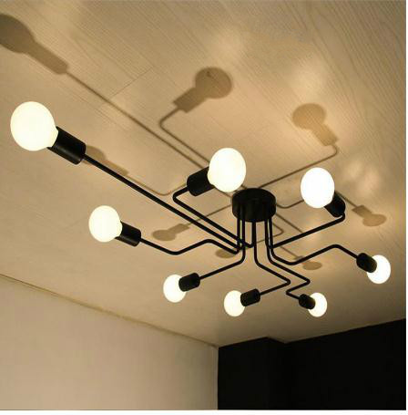 Multiple metal bar chandelier retro iron ceiling lamp Edison E27 bulb Lamparas home lighting Nordic kitchen island