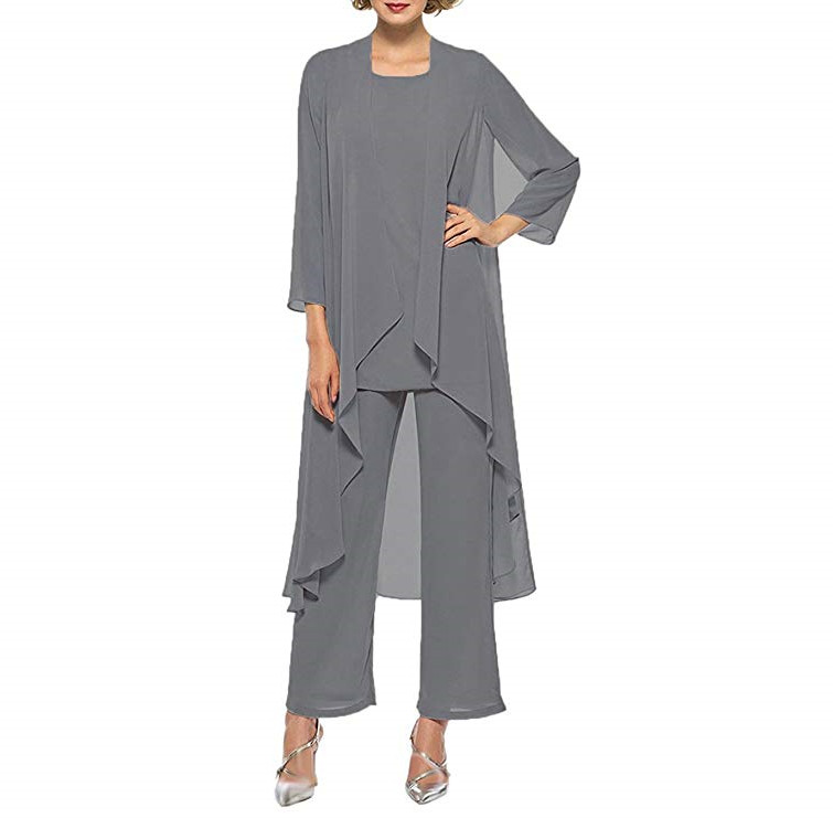 Chiffon Mother Of The Bride Dress With High Low Jacket Three Pieces Wedding Guest Dress Plus Size