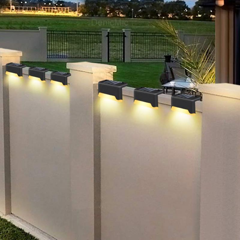 4pcs 3LED Solar Stair Light Lamps Outdoor Courtyard Pathway Street Nightlight UK