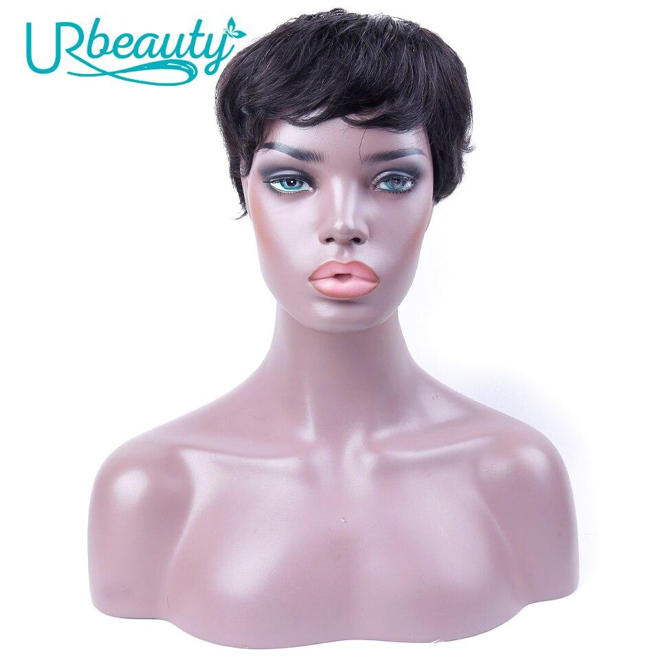 Short Human Hair Wigs Brazilian Remy Wavy Hair 8inch 150% Density For Women Nature Black 100% Machine Made Wigs