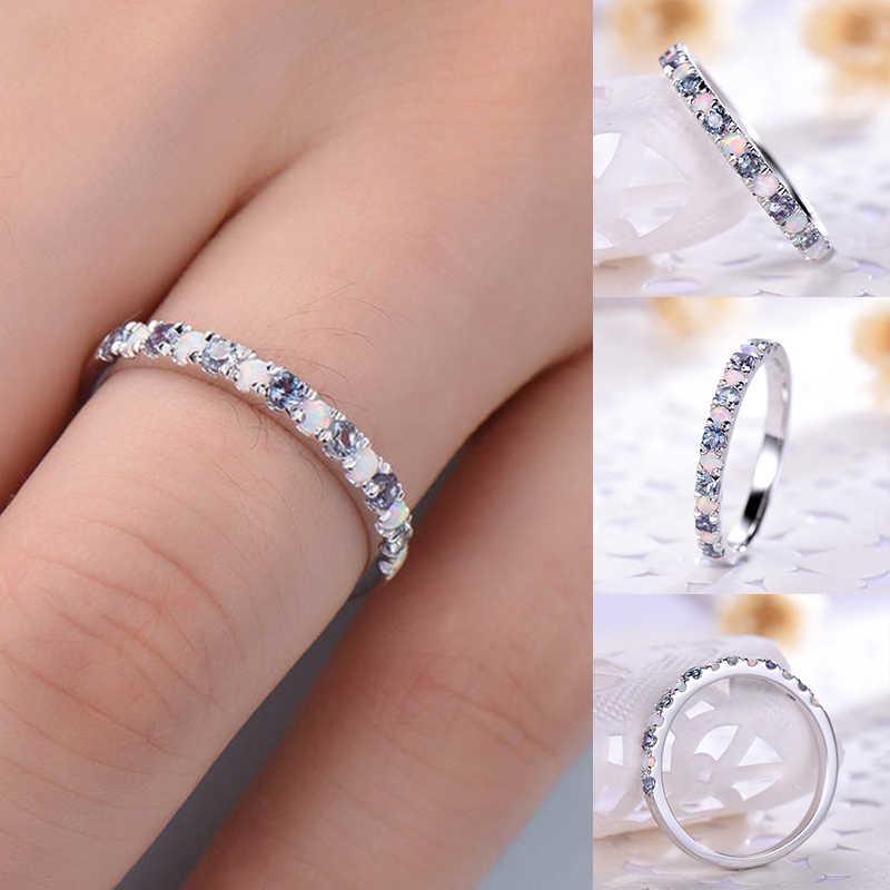 รอบแหวนผู้หญิงโบฮีเมียน Vintage 925 เงินสเตอร์ลิงแหวน Knuckle Blue Rings หรูหราโอปอลหินตกแต่ง A30