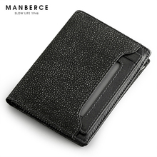 MANBERCE 2019 Leather Wallet Short Vertical Driving License Multifunctional for Mens Head Layer Card Bag Free Shipping