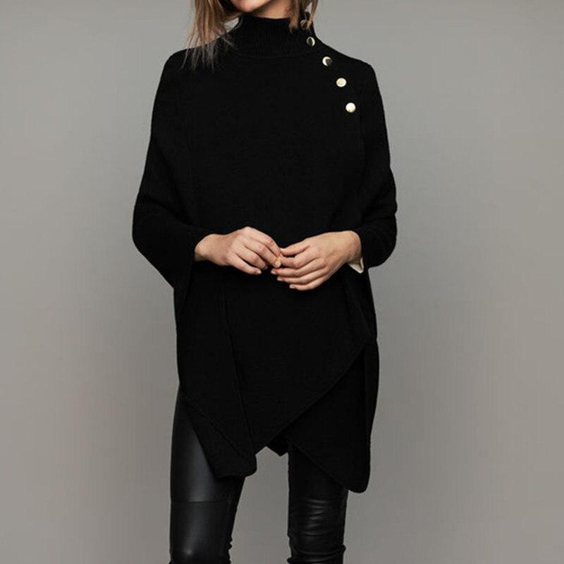 Nieuwe vrouwen Zwarte Trui Lente Herfst Mode Kantoor Dames Schouder Knop Mantel Jas Trui Vrouwen Hoge Hals Warme Kleding-in Truien van Dames Kleding op  Groep 2