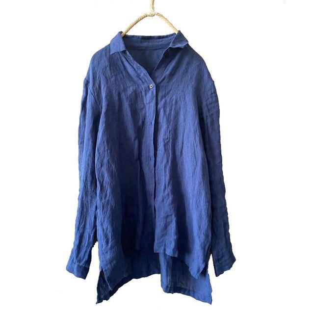 Women linen Spring Autumn Solid COlor Simple Blouse shirt Tops Ladies Vintage Irregular Length Flax Shirt Tops 2020 1