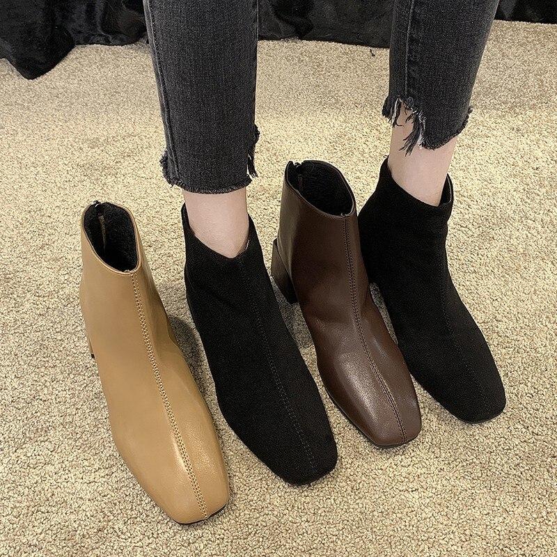 Women Ankle Boots Square Block Heels 5CM Short Ankle Boots Square Toe Back Zipper Black Brown Khaki Bota Feminina 1016 20