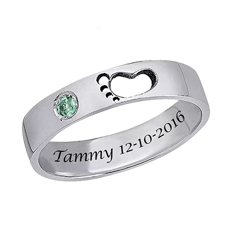 100% 925 Sterling Silver Custom birthstone engraved Name rings Baby footprints finger Rings for Women Personalized Jewelry